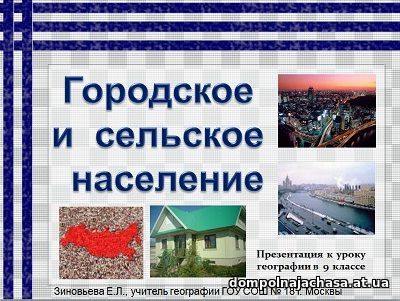 презентация Городское и сельское население