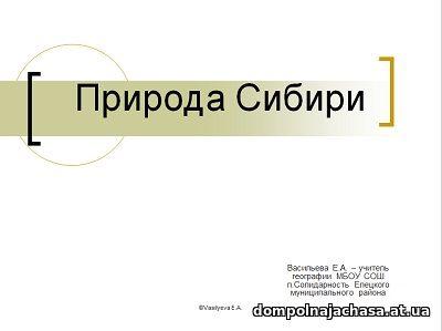 презентация Природа Сибири